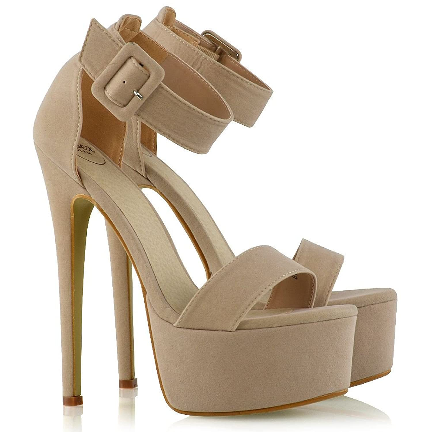 ESSEX GLAM Womens Ankle Strap Open Toe Ladies Stiletto High Heel Platform  Party Shoes Size: Amazon.co.uk: Shoes & Bags