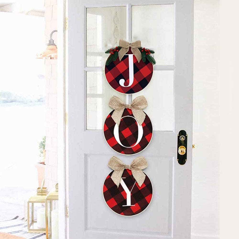 HIIXHC Christmas Decorations - Joy Sign - Buffalo Check Plaid Wreath for Front Door - Rustic Burlap Wooden Holiday Decor for Home Window Wall Farmhouse Indoor Outdoor