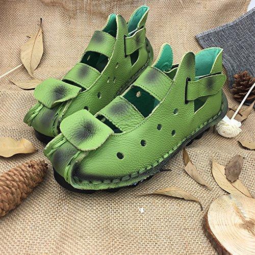 Piel Genuina El Cosido a Mano Suave Suela Zuecos Zapato Ultraligero Cómodo Sandalias Ajustable Ocio Verano Zapatillas Mujer Manzana verde