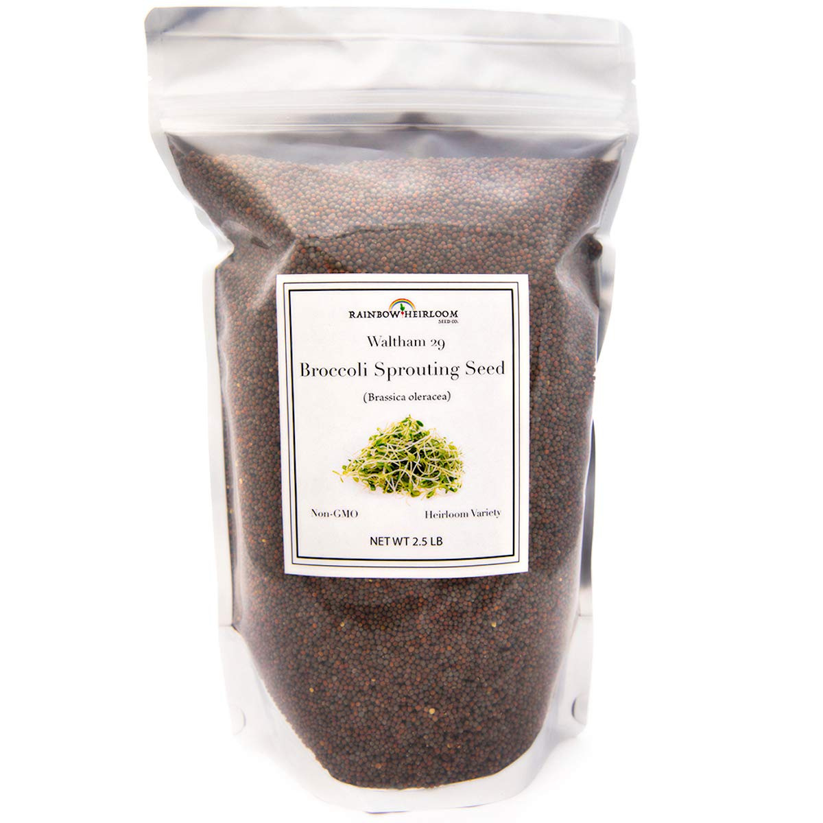Broccoli Sprouting Seeds for Broccoli Sprouts & Microgreens   Waltham 29 Variety   Non GMO Heirloom Seeds   2.5 LB Resealable Bag   Perfect for Sprouting Jar & Seed Tray   Rainbow Heirloom Seed Co. by Rainbow Heirloom Seed Co.