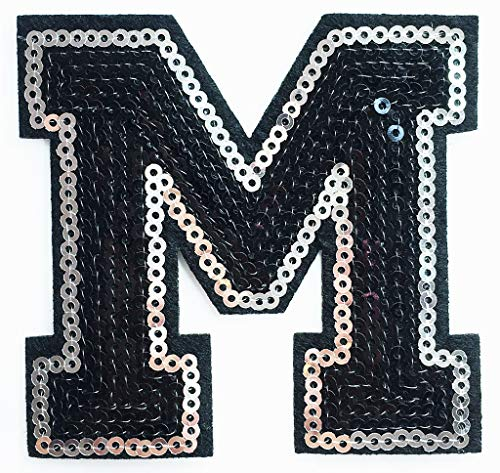 3.1x3 Inch Black Letter M Sequins A-Z School ABC Character for sale  Delivered anywhere in Canada