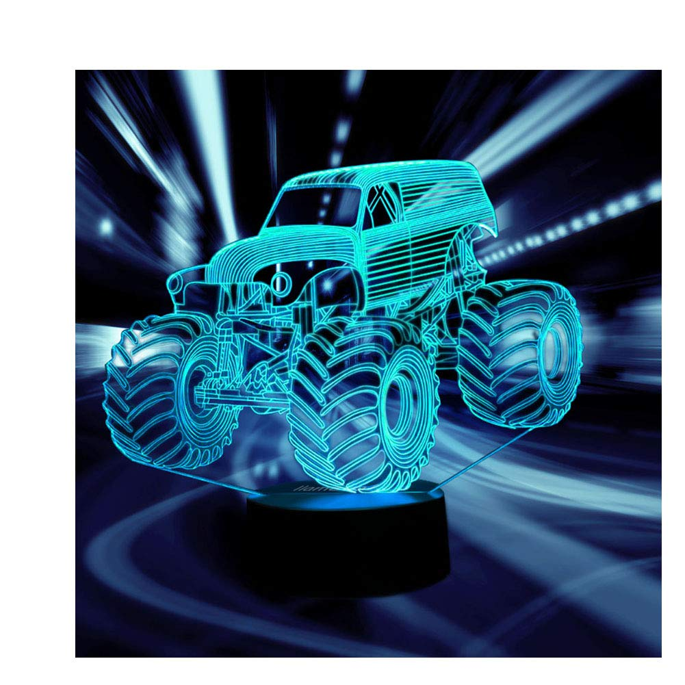 Car Gift Night Lights for Kids 3D Illusion Lamp Led Desk Lamps Birthday Gifts for Boys Home Decor Office Bedroom Room Party Supply Decoration Nursery Lighting 7 Color Tractor Truck SUV Easter Children
