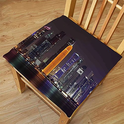 Nalahome Set of 2 Waterproof Cozy Seat Protector Cushion Urban Qatar Middle East Town with Luminous Skyscraper at Night Arabic View Charcoal Grey Purple Orange Printing Size - Sunglasses Qatar