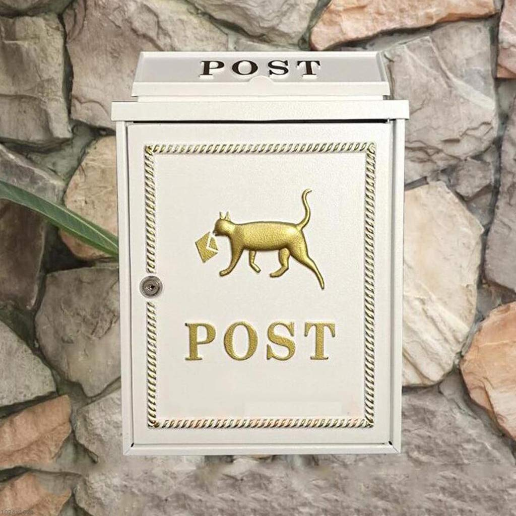 CJH European Cute Zinc Alloy Puppy Letter Box Wall-Mounted Mailbox Community Letter Box Letter Box Mailbox White by CJH