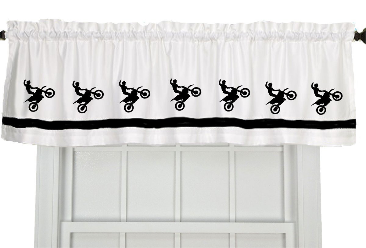 Dirt Bike Motocross Motorcycle Window Valance Window Treatment – In Your Choice of Colors – Custom Made