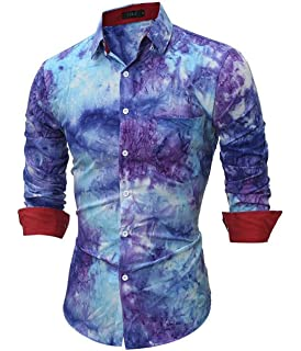8bb7f04d54 Tasatific Men s Tie-Dye Printing Casual Long Sleeves Dress Shirts at ...