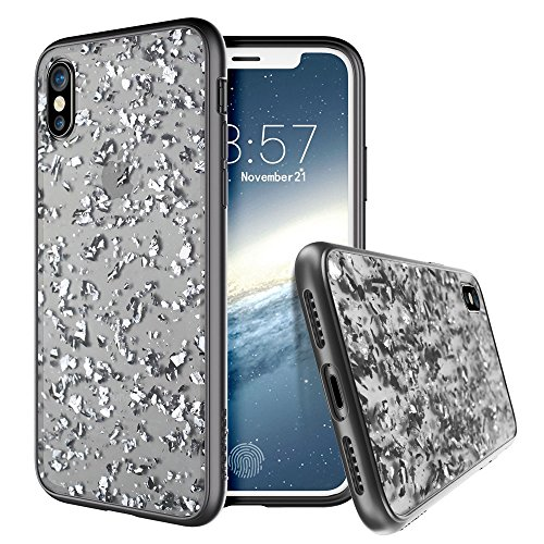 Prodigee [Treasure] Platinum iPhone X (2017) & iPhone Xs (2018) Clear Transparent Smoke Black Protective Stylish Fashionable Shock Proof Test Sparkling Glitter Flakes