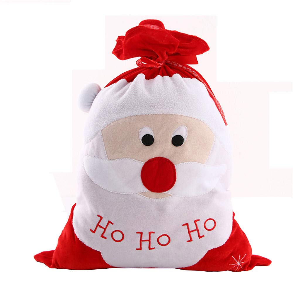 Christmas Tree Decorations, Jchen(TM) Merry Christmas Bag Snowman Santa Claus Pattern Christmas Drawstring Non-Woven Bag (White)