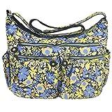 Volcanic Rock Shoulder Bag Corss-body Purse Waterproof Nylon Handbags with Zipper for Women(8981_Pattern#2-Large)