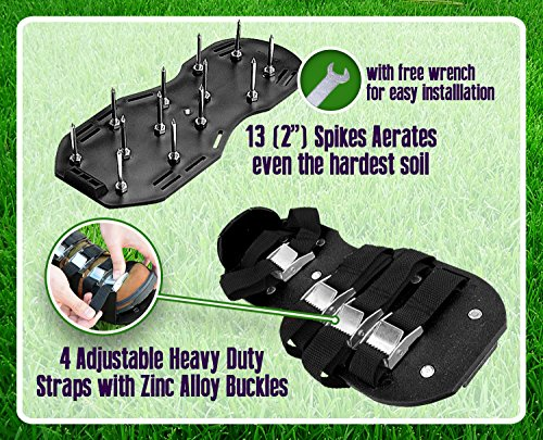 Premium Nylon Heavy Duty Lawn Aerator Shoes - 4 Adjustable Straps and Metal Buckles - Nylon Aerating Sandals with Zinc Alloy Buckles - Extra Spikes and Bonus Wrench Included by Gardenite (Image #2)