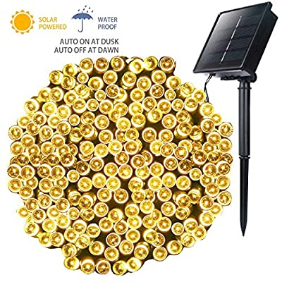 Moonflor Outdoor Solar String Lights with 8 Light Modes, 72FT 200 LED Solar Powered Starry Fairy Waterproof Lights for Wedding Christmas Patio Lawn Party Decoration