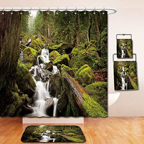 (Beshowereb Bath Suit: Showercurtain Bathrug Bathtowel Handtowel a stream meanders through a beautiful rainest with cedar and fir trees near harrison lake in 127076372)