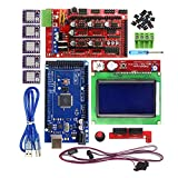 3D Printer Kit - HESAI 3D Printer Controller Kit for Arduino Mega 2560 R3 Board + RAMPS 1.4 Control Panel + LCD 12864 Motherboard Display + 5pcs DRV8825 Stepstick Stepper Motor Driver Module + Heat Sink