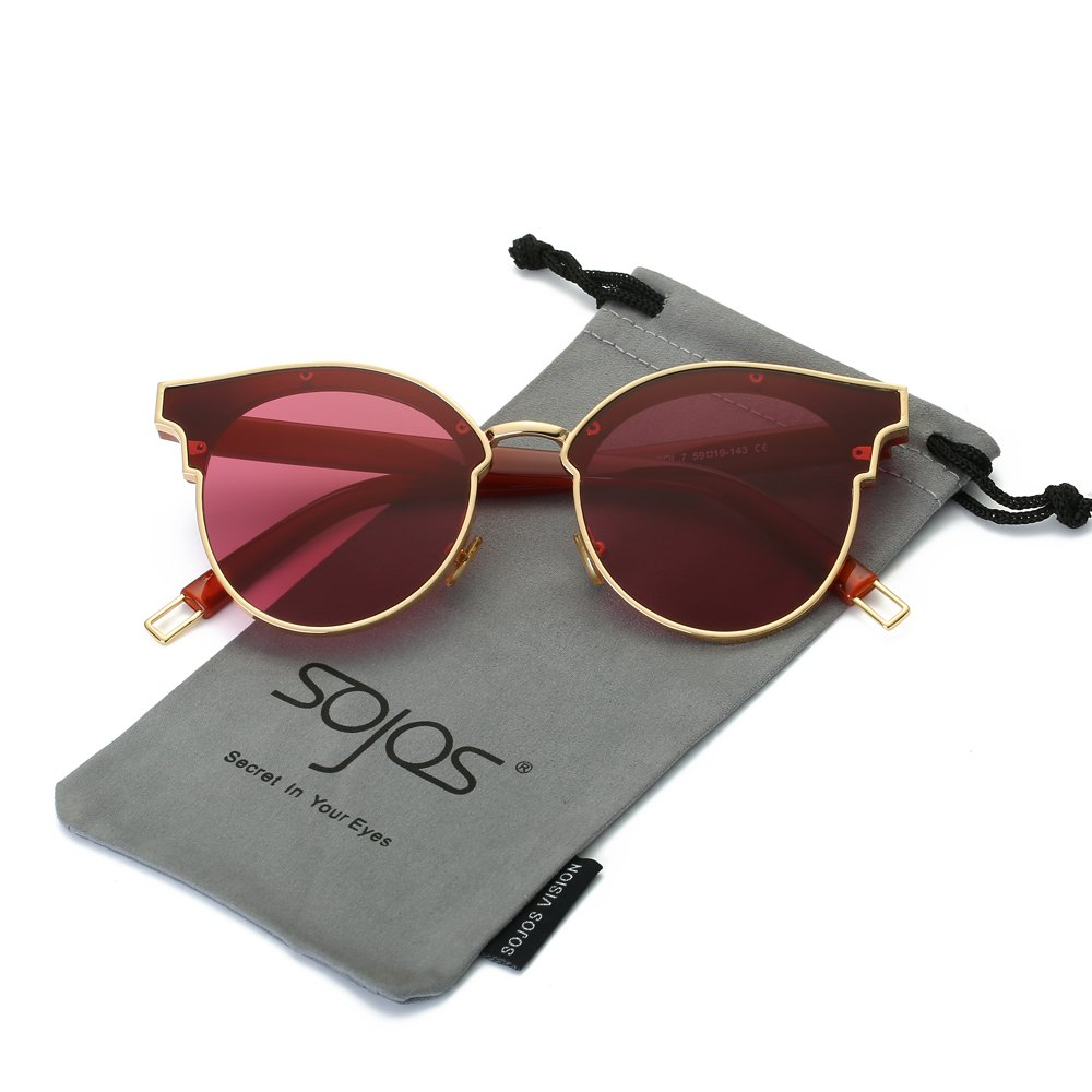 SojoS Fashion Cateye Sunglasses for Women Oversized Flat Mirrored Lens SJ1055 With Gold Frame/Clear Burgundy Lens
