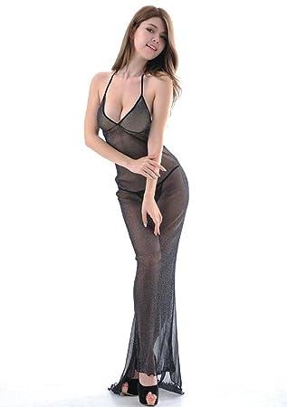 DuuoZy Frauen reizvolle Wäsche-Satz bloße Spitze Mesh-lange Kleid ...