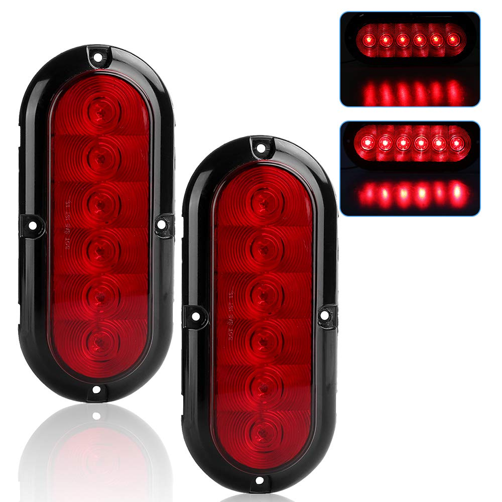 2pcs 6 Inch Oval Red Led Trailer Tail Lights Stop Turn Also Along With Wiring Signal Brake Reverse Backup Light Flush Mount For Truck Boat Rv Waterproof