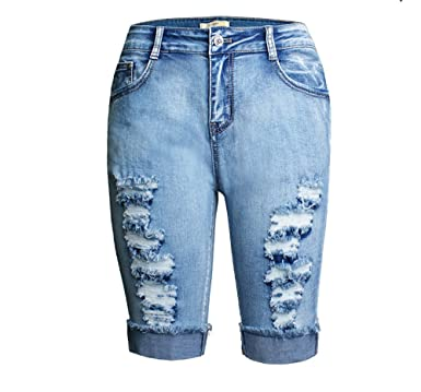 30044b826bf Dreamskull Womens Casual High Waist Stretchy Denim Jean Destroyed Bermuda  Shorts