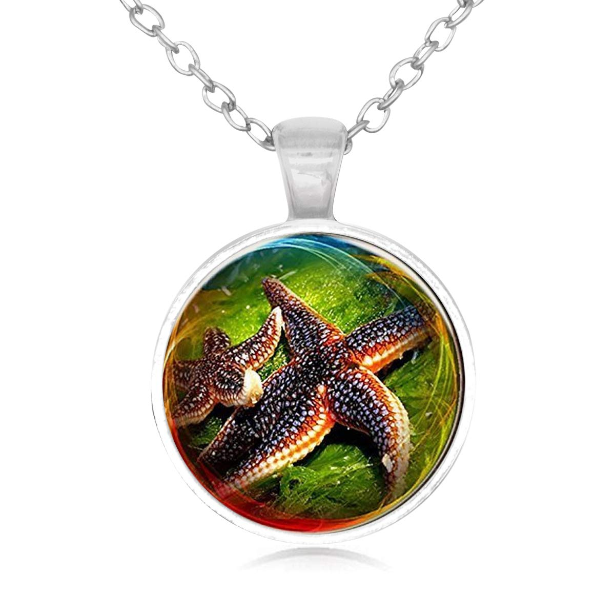 Family Decor Starfish Pendant Necklace Cabochon Glass Vintage Bronze Chain Necklace Jewelry Handmade
