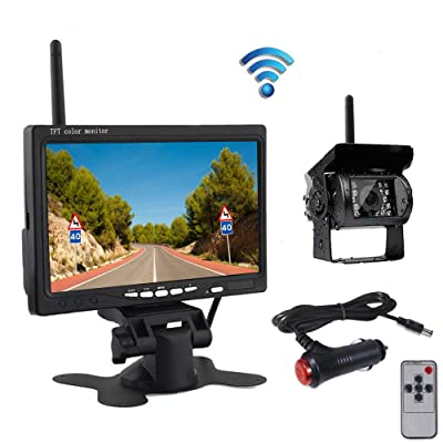 Wireless Car Backup Camera and Monitor Kit, Waterproof Night Vision Wireless Rear View Camera 7 Inch HD TFT LCD Monitor Parking System + Car Charger for 12V-24V Truck RV Trailer Camper Bus: Car Electronics