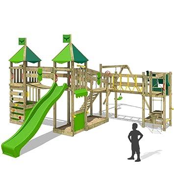 fatmoose juego infantil luckylord large xxl de madera para el jardn verde claro columpio