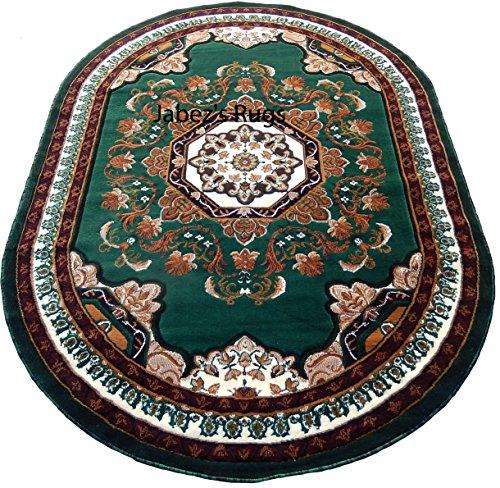 Persian Medallion Oval Woven 5x8 Area Rug Hunter Green Ac...