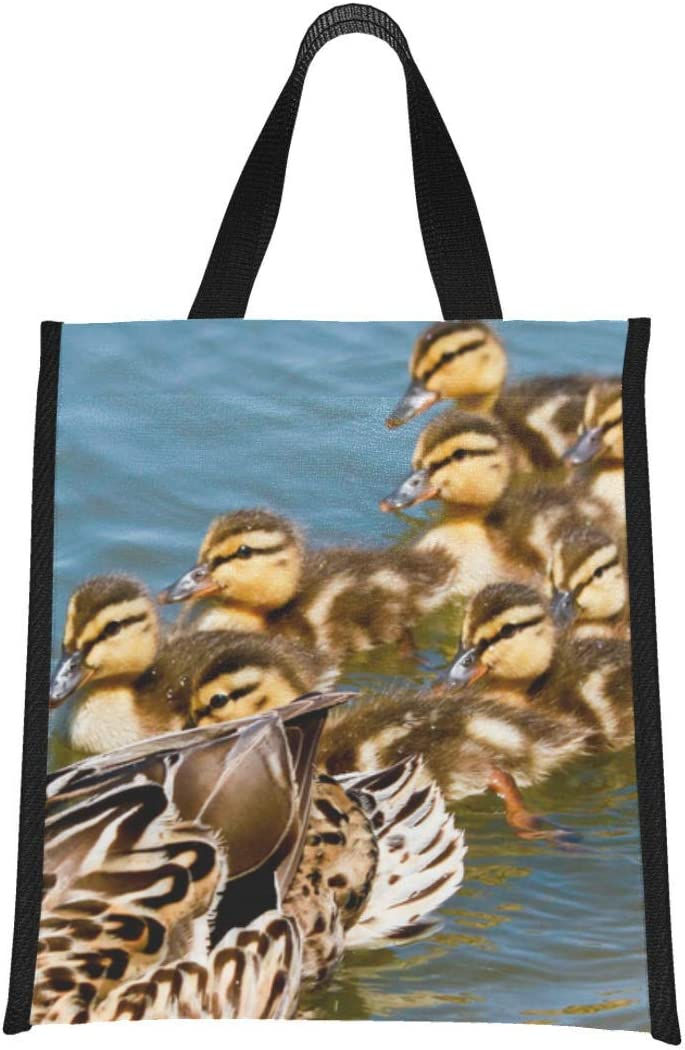 Adult Lunch Box Mallard Duck With Her Ducklings Bag Cooler Women Lunchbags Reusable, Foldable Keeps Food Hot/cold For Women,men,school,office