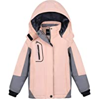 MORCOE Girls' Waterproof Fleece Ski Jacket Outdoor Winter Outerwear Windproof Mountain Snow Snowboarding Coat with Hood