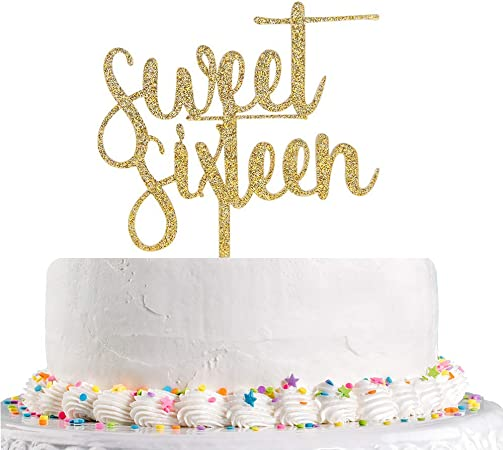 16th Birthday Party Gold Sixteenth Cake Topper 16th Birthday Cake Topper 16th Cake Decor 16th Birthday Gold Glitter Cake Topper