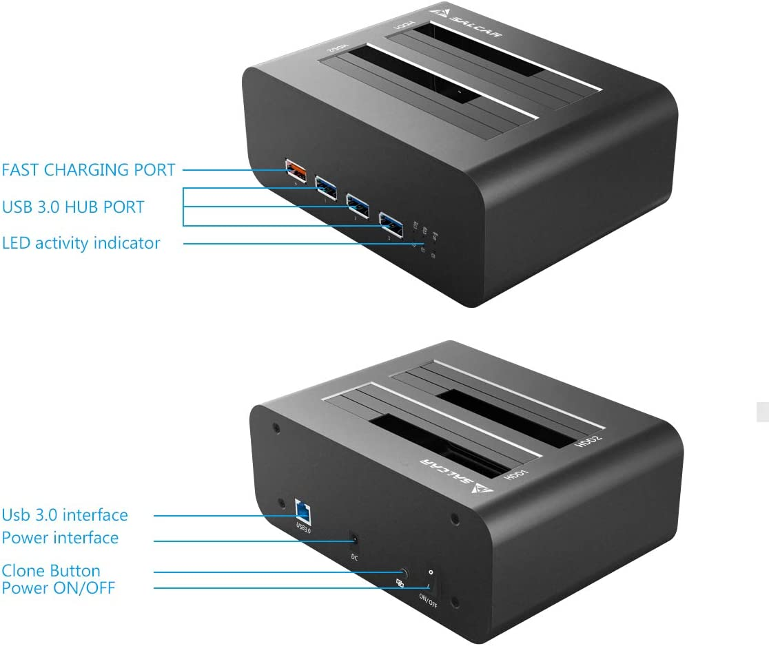 SALCAR Súper Velocidad USB 3.0 SATA Doble bahía para Disco Duro con concentrador USB 3.0 y Puerto de Carga rápida USB para Todos los SSD y HDD de 2,5 y 3,5 Pulgadas