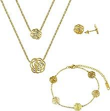 Lady Bling Bling Damen Schmuck-Set Halskette mit Anhängern, Armband und Ohrringe aus Edelstahl Zweireihig Rosen Blumen Blüten inkl. Etui