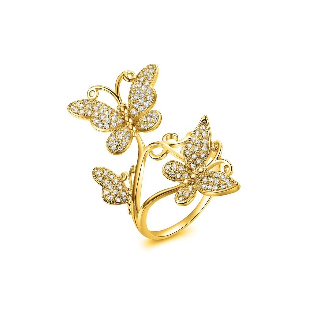 Bella Lotus Delicate Butterflies 18k Yellow Gold Plated CZ Paved Rings, Size 5.5