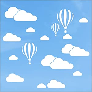 White Clouds Stickers & Hot Air Balloons Wall Decals Nursery Decor, CUNYA Removable Vinyl Cloud Wallpaper Mural Home Decorations for Living Room, Girls Bedroom, Kids Room Decor