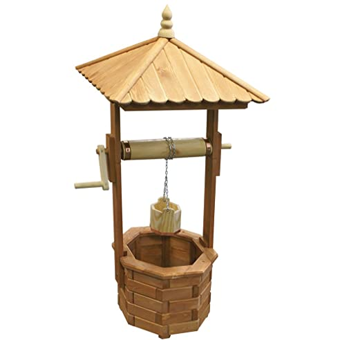 Holz Brunnen, Handarbeit, Hell Gebeizt, Funktionsföhige Kurbel