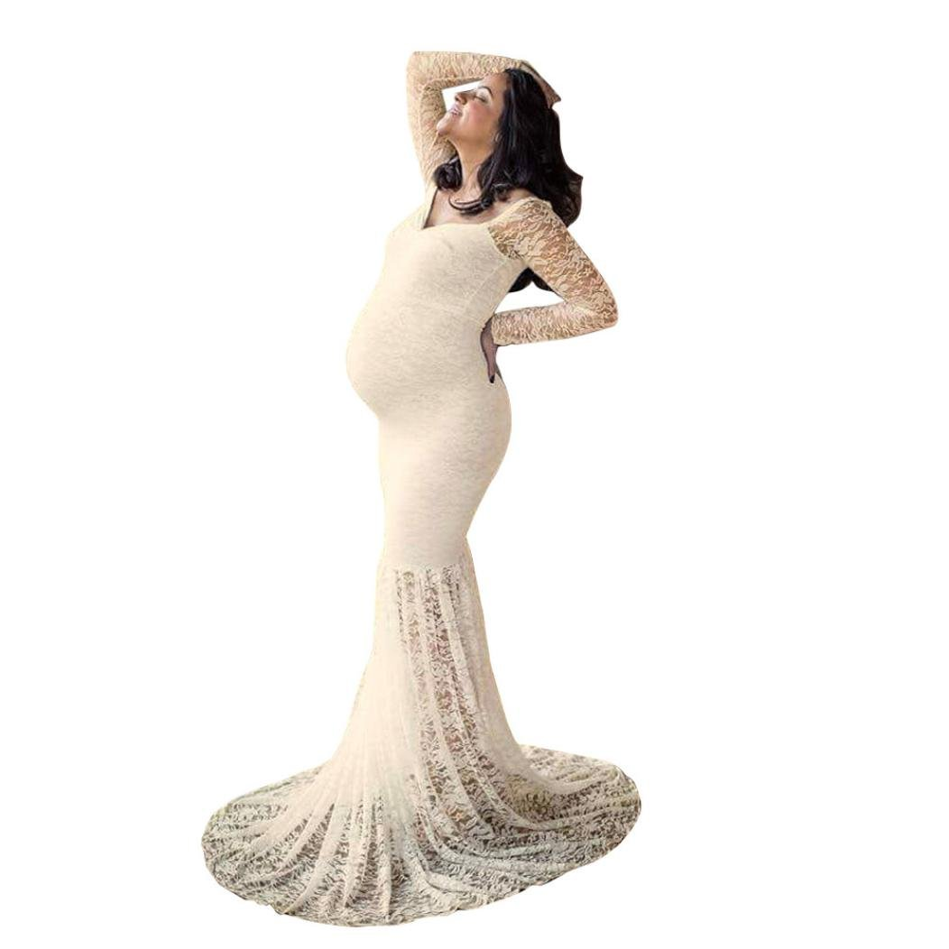 Maternity Elegant Fitted Maternity Gown Long Sleeve Off Shoulders Lace Maxi Photography Dress (Beige, M)