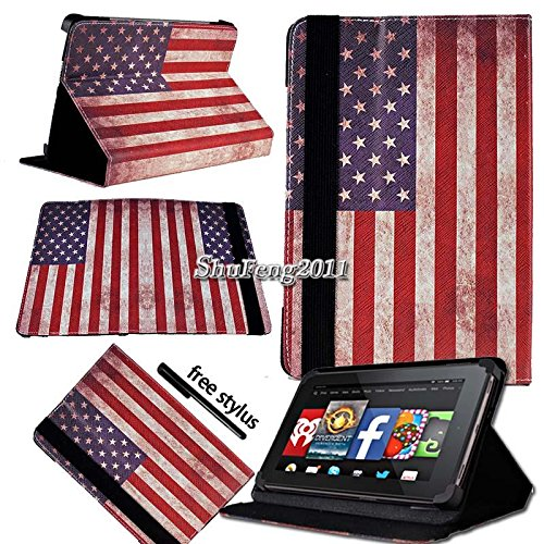 "Case+Stylus PU Leather Case Stand Folio Fits Apple iPad Samsung Dell Motorola Surface HTC LG Kurio Android Tablet PC 8""-8.9"" Compatible with The Following Models: USA/American Flag."