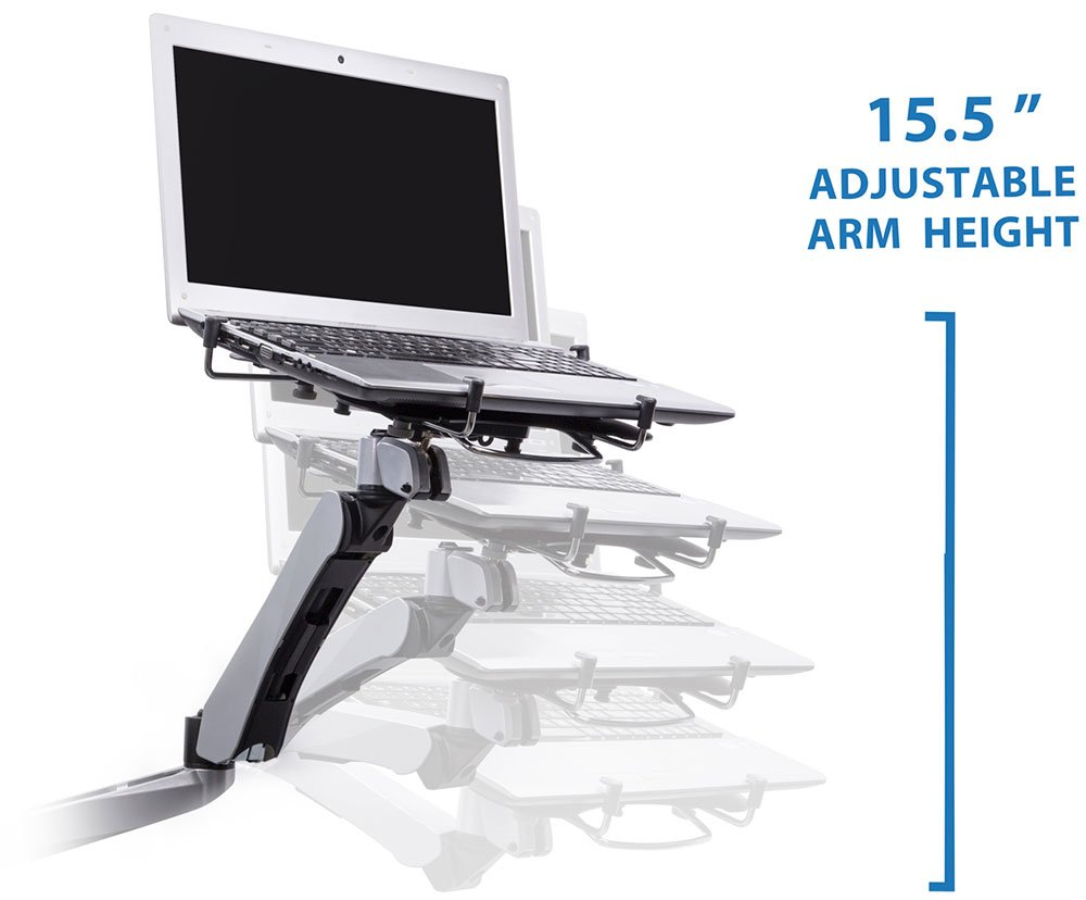 Mount-It! MI-75816 Full Motion Articulating, Tilting, Adjustable Height, Rotating, Swiveling Arm Mount for LCD, LED, and Computer Monitor Displays with Single Arm Vented Cooling Fan Stand for Laptops, Tablets, and Notebooks, C-clamp, Silver by Mount-It! (Image #5)