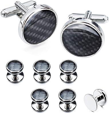 HAWSON Round Cufflinks and 4 Studs Set for Mens Tuxedo Shirt Business Wedding Accessories