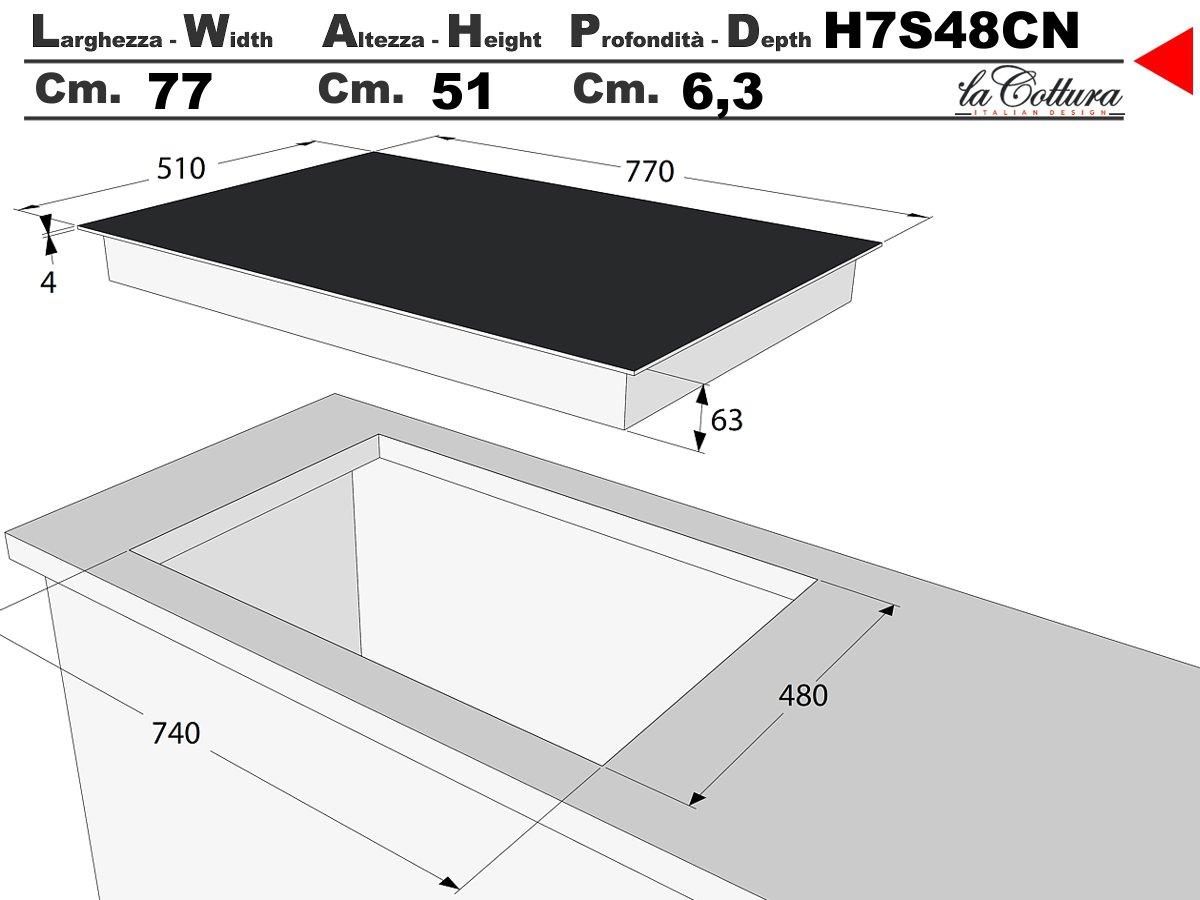Vitrocerámica inducción La Cottura H7S48CN 77cm: 350.9 ...