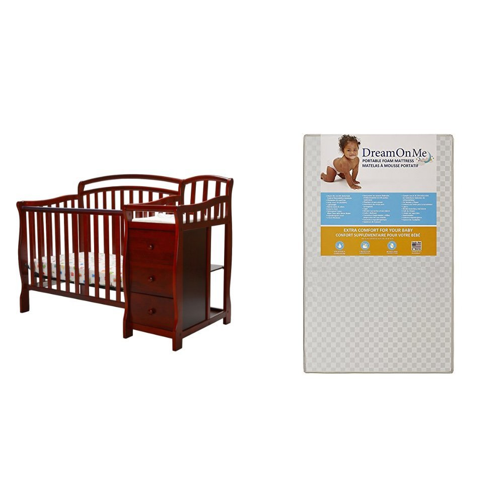 Dream On Me Casco 4 in 1 Mini Crib and Dressing Table Combo  with Dream On Me 3 Portable Crib Mattress, White by Dream On Me