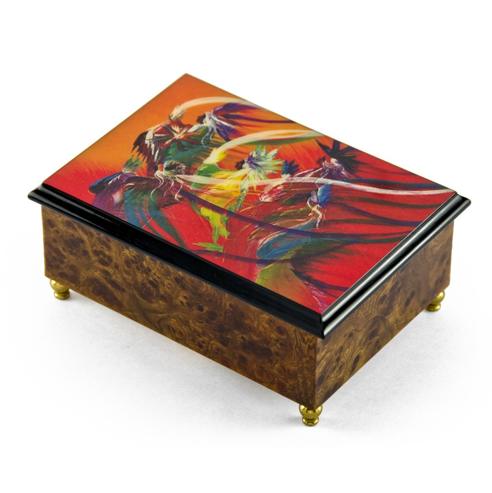 Artistic 18 Note ''Rainbow Dance'' Italian Musical Jewelry Box - Rock of Ages - Christian Version by MusicBoxAttic