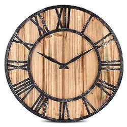 Robolife Decorative Silent Round Wooden Wall Clock Roman Numeral Retro Home Decor (Wood)