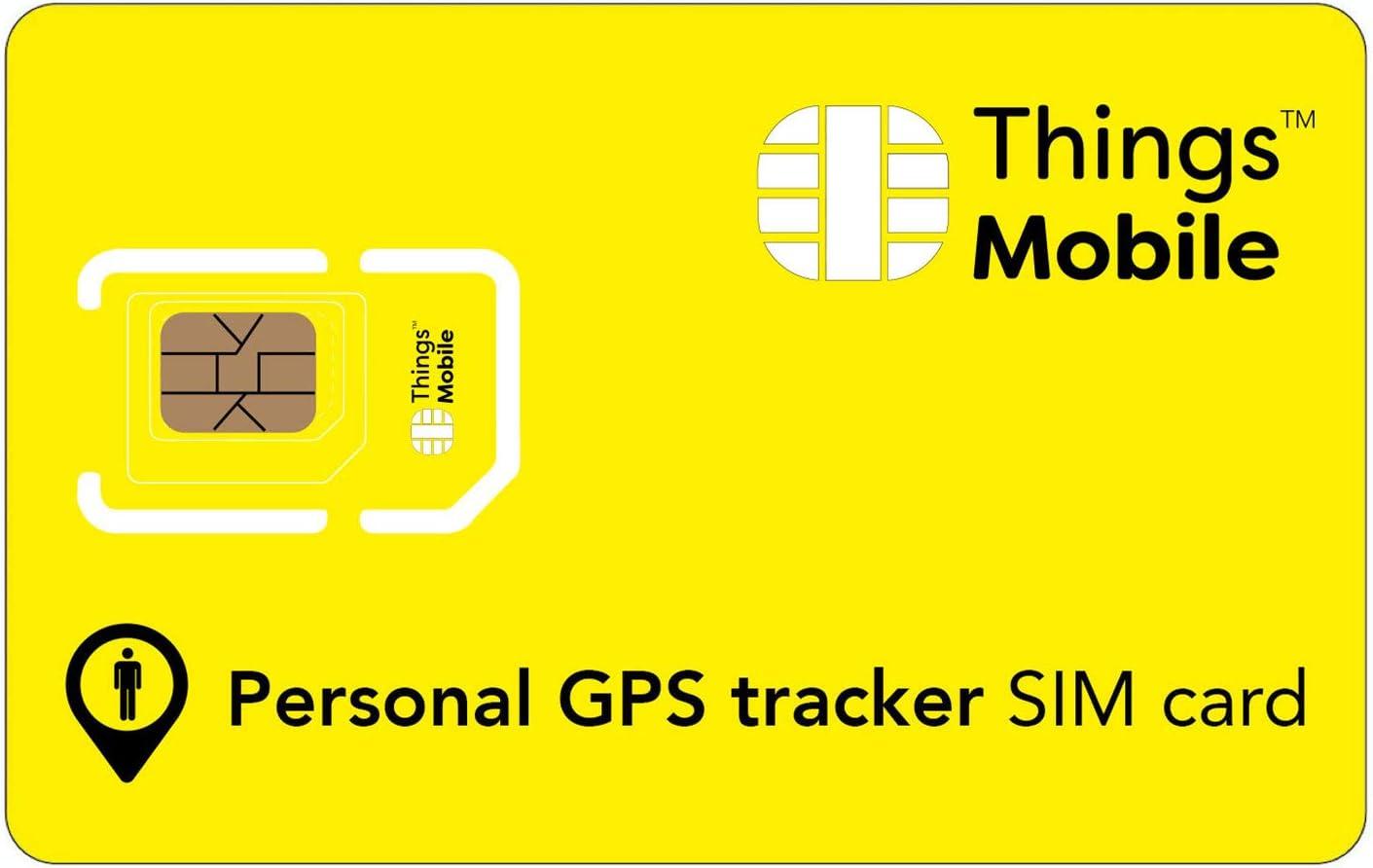 Tarjeta SIM para LOCALIZADOR / RASTREADOR / TRACKER GPS PERSONAL - Things Mobile con cobertura global y red multioperador GSM/2G/3G/4G, sin costes fijos. 10 € de crédito incluido