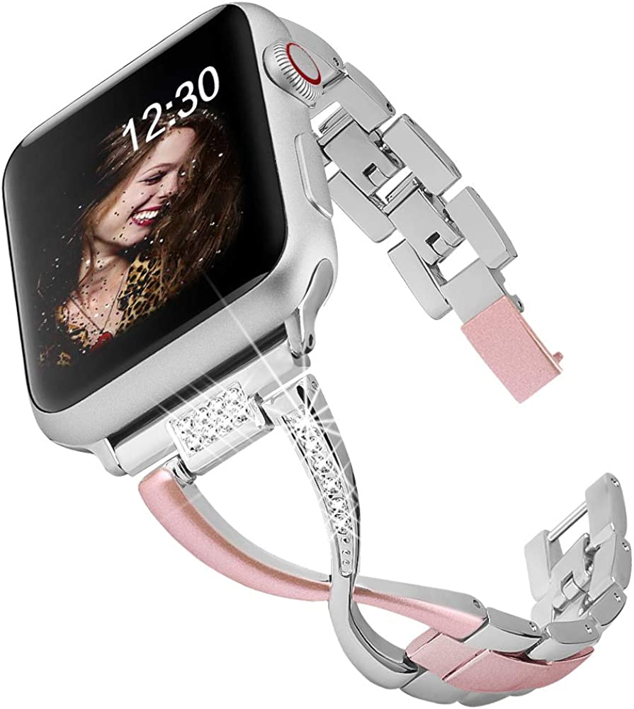 BAITEYOU Band Compatible for Apple Watch Bands 38mm 40mm iwatch Series 4 3 2 1 Bands 42mm 44mm for Women Jewelry Metal Wristband Strap,Bracelet Replacement with Bling Diamond X-Link