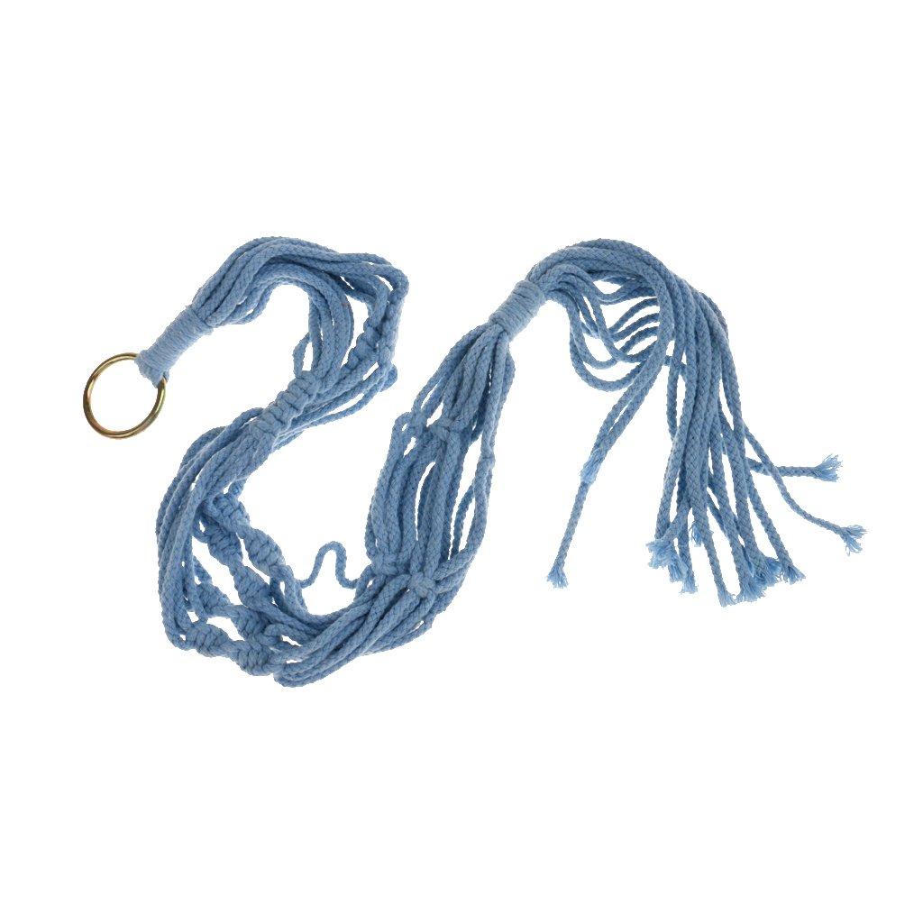 Blue MagiDeal 4 Legs Macrame Cotton Rope Plant Holders Flower Pot Hanger Hanging Basket Home Decoration 90cm