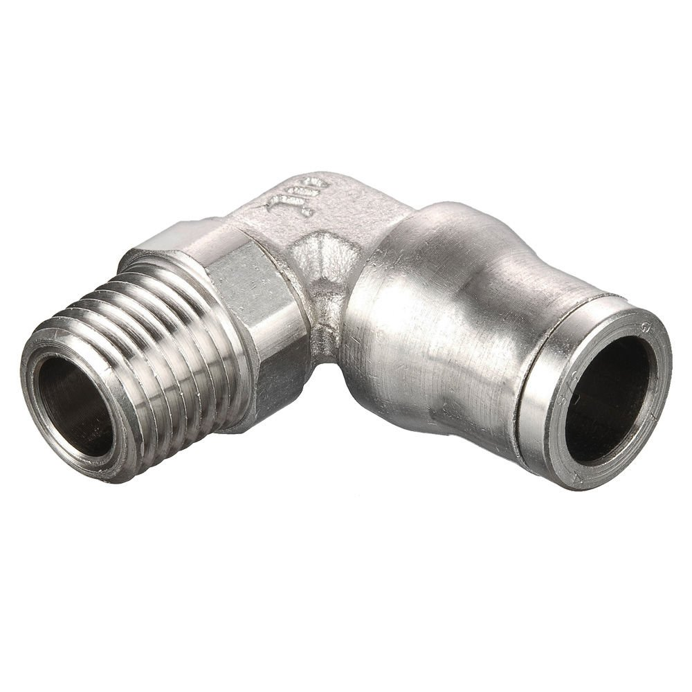 Parker 169PLM-8M-4R-pk5 Prestolok PLM Metal Push-to-Connect Fitting, Tube to Pipe, Nickel Plated, Push-to-Connect and Male BSPT 90 Degree Elbow, 8 mm and 1/4'', Brass (Pack of 5)