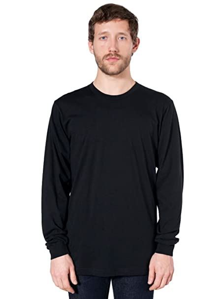 ab954bcf2f American Apparel Fine Jersey Long Sleeve T-Shirt-Black at Amazon ...