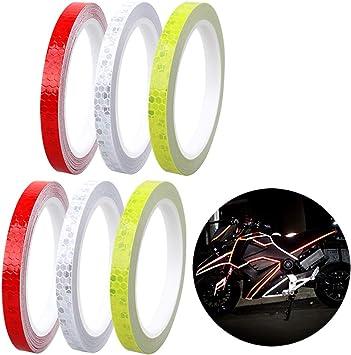 Cintas Adhesivas Reflectantes 6 Rollos 3 Colores 48m Pegatinas Reflectantes Autoadhesivas de Seguridad Láminas de Prisma Hexagonal para Coche Moto Bici: Amazon.es: Coche y moto