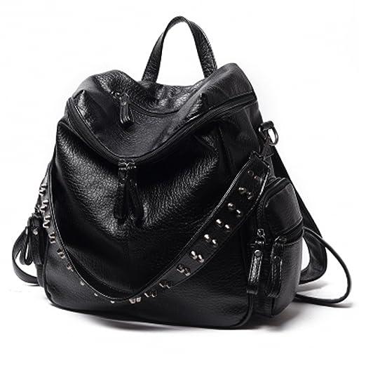 ab9930e93377 Amazon.com  Women Backpack Purse 3 ways PU Washed Leather Rivet Studded  Ladies Rucksack Shoulder Bag  Clothing
