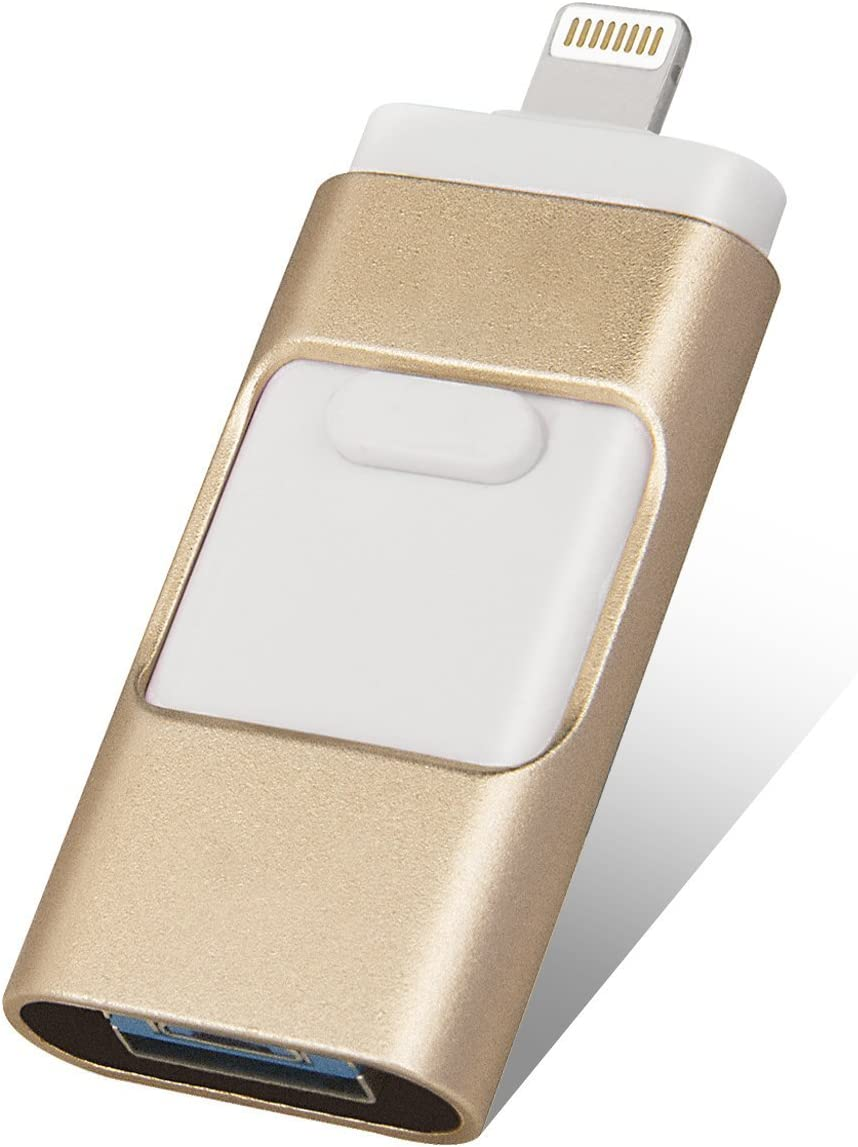 256GB iPhone USB Flash Drives, [3-in-1] Lightning OTG Jump Drive, iPad Memory Stick, iOS External Storage Expansion for iOS Android PC Laptops Gold (256GB)