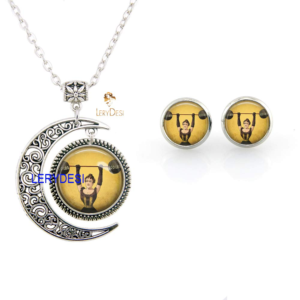 LERYDESI Strong Woman Necklace Stud Earrings Moon Pendant Weight Lifting Circus Freak Show Sideshow Weightlifter Jewelry Set